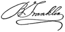 Autograph of Benjamin Franklin (from Nordisk familjebok).png