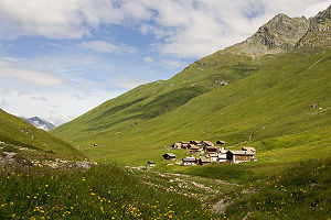 Walser - Juf (Avers), at 2,126 metres above sea level the highest permanently inhabited settlement in Europe, is a Walser village established in 1292, some kilometers upstream of the Latin Val Ferrera.