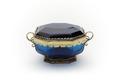 Avlång, åttkantig ask med lock gjord av blått slipat glas - Skoklosters slott - 92139.tif