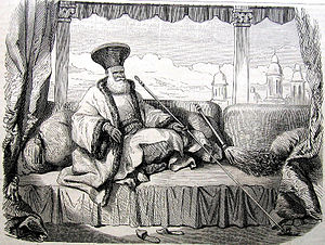 Boyars of Wallachia and Moldavia - Boyar Iordache Filipescu, dressed in the Phanariote boyar fashion, sitting on a divan