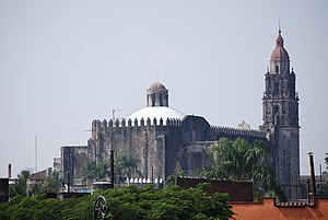 Cuernavaca Cathedral - View of cathedral from behind showing defensive merlons