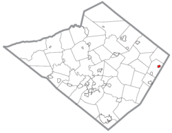 Location of Bally in Berks County, Pennsylvania.