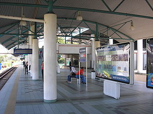 Bandar Tasik Selatan station - A platform view, northbound, of the Bandar Tasik Selatan Sri Petaling Line station.