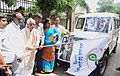 Bandaru Dattatreya flagging off the publicity vehicle, on the sidelines of the Regional Workshop on 'Government of India Welfare Schemes', organised by the Directorate of Field Publicity, Mo Information & Broadcasting.jpg