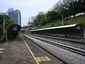 Bank Negara Komuter station - The Bank Negara halt (March 2007) is one of a few train stations in the KTM Komuter network to be constructed along valley-like terrain.