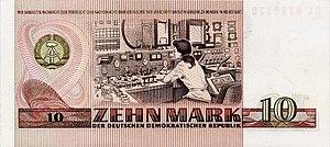 Rheinsberg Nuclear Power Plant - Engraving on 10 Mark DDR banknote