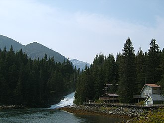 Baranof Warm Springs, Alaska - Baranof Warm Springs and the rapids from Baranof Lake's outlet.