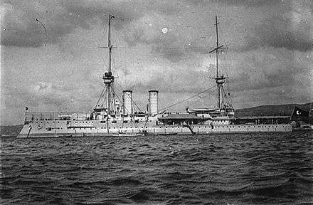 Barbaros Hayreddin, the Ottoman flagship (pictured here) and her sister Turgut Reis were more heavily protected and had more and heavier primary armament than Georgios Averof, but were five knots slower. Barbaroshayreddin.jpg
