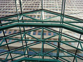 Barrington Tower - Barrington Tower from inside Scotia Square, looking up through a glass roof.