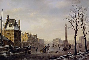 Little Ice Age - Winter skating on the main canal of Pompenburg, Rotterdam in 1825, shortly before the minimum, by Bartholomeus Johannes van Hove