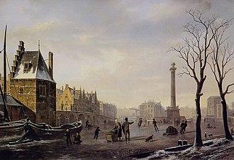 1825 in art - Image: Bartholomeus Johannes van Hove, Pompenburg met Hofpoort in de winter