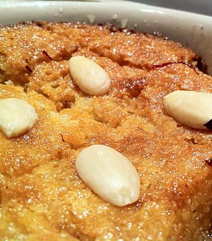 Basbousa - Basbousa topped with almonds