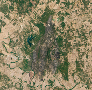 Bastrop County Complex Fire - Burn scar on the Texas landscape left behind by the fire on September 12, 2011.
