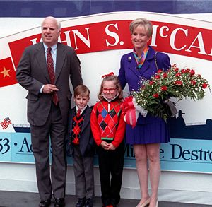 Cindy McCain - Cindy McCain, at christening of USS ''John S. McCain'', September 1992, with daughter Meghan, son Jack, and husband John at the Bath Iron Works shipyard, Bath, Maine.