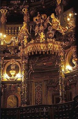 Royal Box of the Margravial Opera House in Bayreuth Bayreuth Markgrafliches Opernhaus Furstenloge (1995).jpg