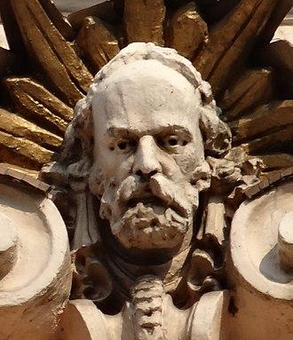 """Józef Święcicki - Purported face of Józef Świecicki as carved on Hotel """"Pod Orlem"""" facade in Bydgoszcz"""