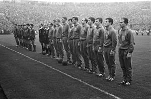 Low Countries derby - The Dutch (foreground) and Belgian teams lining up before a 1962 derby