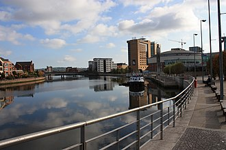 River Lagan - River Lagan and Lanyon Place, Belfast, October 2009