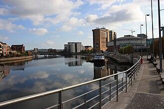 River Lagan - River Lagan and Lanyon Place, Belfast, October 2009
