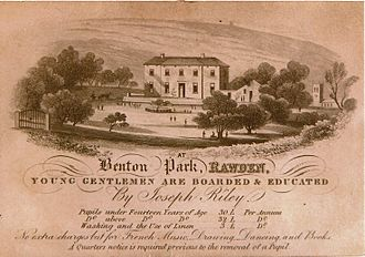 Benton Park School - Advertisement for Benton Park School with a line drawing of the building.