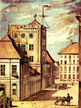 Berlin Observatory - The royal stables and the observatory, watercolor painting by Leopold Ludwig Müller, 1824