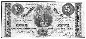Île-à-Vache - Bernard Kock 5 Haitian dollar note