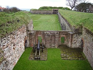 Richard Lee (engineer) - Looking into the gun position in a flanking bastion, and along the walls at Berwick upon Tweed