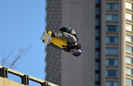 A snowboarder in downtown Québec at the  2011 big air competition