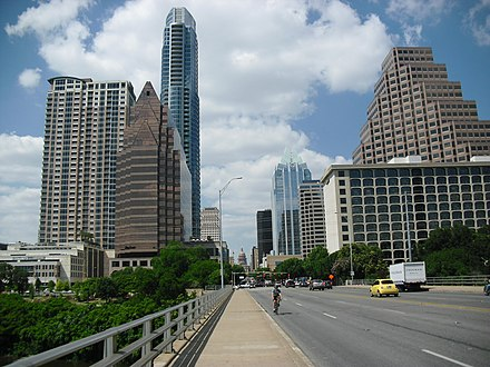 Downtown Austin from Congress Avenue Bridge, with Texas State Capitol in background, 2012 Biking in Congress Avenue.JPG