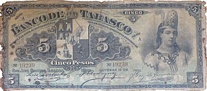 La Malinche - Five peso banknote issued by the Banco de Tabasco in 1901 depicting Malinche.