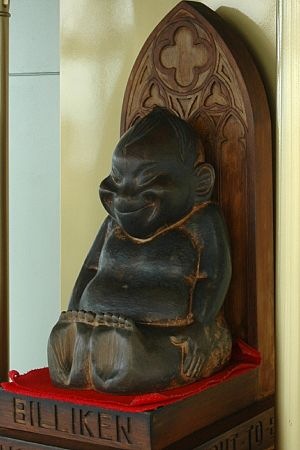 Billiken - Wooden statue of the Billiken enshrined in Tsutenkaku Tower