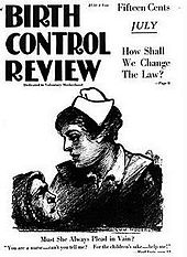 "The cover of a 1919 magazine, titled ""The Birth Control Review"". On the cover a suffering mother asks a nurse for help to prevent more pregnancies."