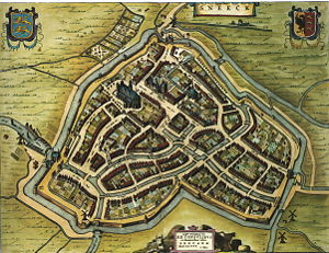Sneek - Sneek on the map of Willem and Joan Blaeu in 1652