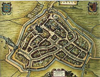 Sneek - Sneek on the map of Willem and Joan Blaeu in 1652