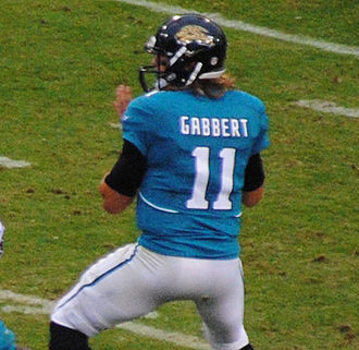 Blaine Gabbert - Gabbert attempting a pass against the Tampa Bay Buccaneers for the Jacksonville Jaguars.