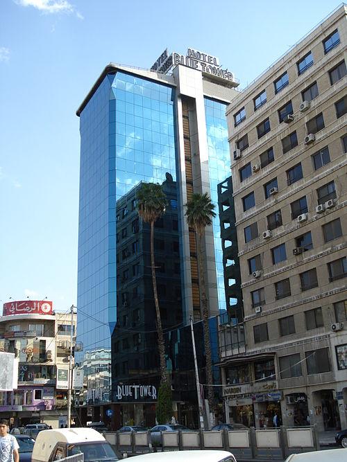 Blue Tower Hotel, a 4 star hotel in Hamra Street. Blue tower Alhamra street.JPG