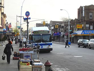 Thirteenth Avenue (Brooklyn) - B16 bus on 13th Avenue at 47th Street in Borough Park, Brooklyn