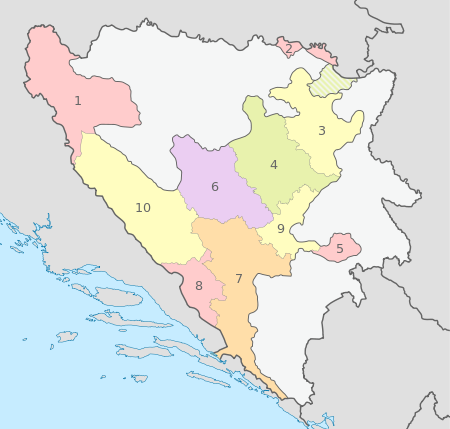 Bosnia and Herzegovina, administrative divisions - Nmbrs (cantons) - colored.svg