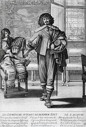Sumptuary law - Le Courtisan suivant le Dernier Édit by Abraham Bosse – a French courtier casting aside lace, ribbons and slashed sleeves in favor of sober dress in accordance with the Edict of 1633.