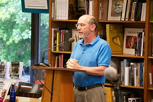 Politics and Prose - New co-owner Bradley Graham introduces an author event.