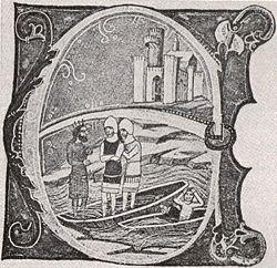 Emperor Henry III losing his fleet below Bratislava Castle, the oldest known image of the castle (14th century)