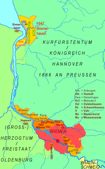 Territory of the Free City of Bremen since 1800 Bremer Staatsgebiet seit 1800.png