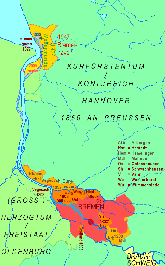 Bremer Staatsgebiet seit 1800