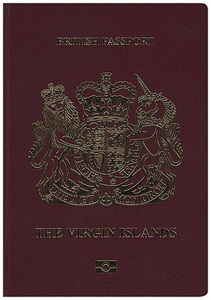 British passport (British Virgin Islands) - The front cover of a biometric British Virgin Islands passport.
