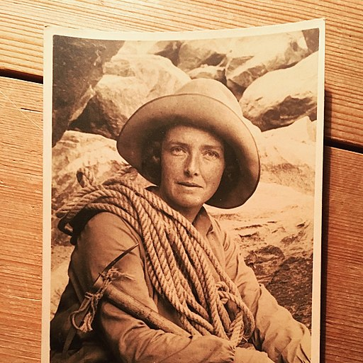 British writer and mountaineer Dorothy Pilley in alpine mountaineering kit in the 1920s-30s