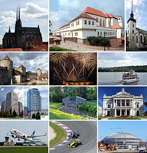 Montage o Brno • Left, row 1: Cathedral o St. Peter an Paul on Petrov hill • Left, row 2: Veveří Castle • Left, row 3: Heich-rise biggins • Left, row 4: Brno-Tuřany Internaitional Airport • Middle, row 1: Špilberk Castle • Middle, row 2: Ignis Brunensis internaitional firewirk competition • Middle, row 3: Pairk Lužánky • Middle, row 4: Masaryk Circuit, the Brno racin circuit • Richt, row 1: Kirk o St. James • Richt, row 2: A ship on Brno reservoir • Richt, row 3: Mahen Theatre, a pairt o the Naitional Theatre in Brno • Richt, row 4: A pairt o the Brno Exhibeetion Centre