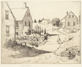 """Sears Gallagher - """"Broadway, Monhegan; Early Morning"""" by Sears Gallagher. Photograph courtesy of the Boston Public Library by permission of the artist's heirs."""