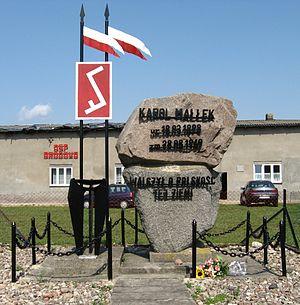 Masuria - Monument to Karol Małłek, leading member of Masurian resistance to Nazi Germany and pro-Polish Masurian activist