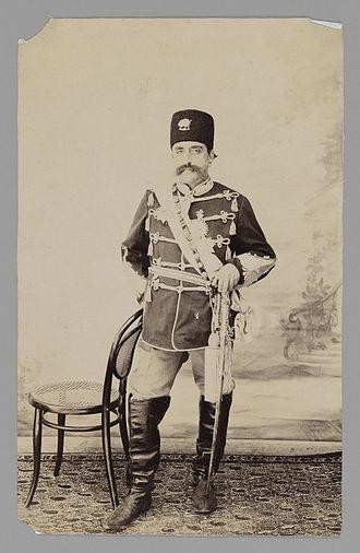 Mozaffar ad-Din Shah Qajar - Full-length Portrait of Mozaffar al-Din Shah, One of 274 Vintage Photographs - Antoin Sevruguin Brooklyn Museum.