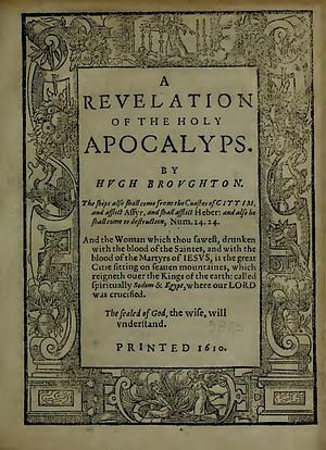Hugh Broughton - Title page (1610) of A Revelation of the Holy Apocalyps